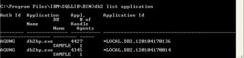 db2 list application