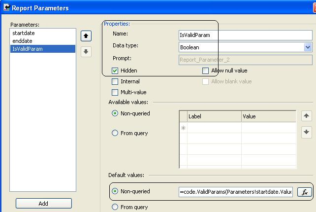 Easy Step by Step SSRS Parameter Validation Using Code